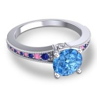 Swiss Blue Topaz Classic Pave Vati Ring with Blue Sapphire and Pink Tourmaline in 14k White Gold