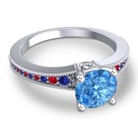 Swiss Blue Topaz Classic Pave Vati Ring with Blue Sapphire and Ruby in 18k White Gold