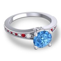 Swiss Blue Topaz Classic Pave Vati Ring with Diamond and Ruby in 14k White Gold