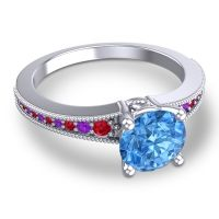 Swiss Blue Topaz Classic Pave Vati Ring with Ruby and Amethyst in 18k White Gold