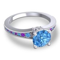 Swiss Blue Topaz Classic Pave Vati Ring with Amethyst in 18k White Gold