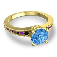 Swiss Blue Topaz Classic Pave Vati Ring with Black Onyx and Amethyst in 18k Yellow Gold