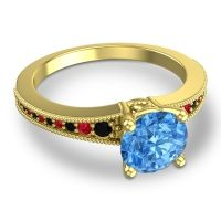 Swiss Blue Topaz Classic Pave Vati Ring with Black Onyx and Ruby in 14k Yellow Gold