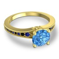 Swiss Blue Topaz Classic Pave Vati Ring with Blue Sapphire and Black Onyx in 14k Yellow Gold