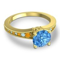 Swiss Blue Topaz Classic Pave Vati Ring with Citrine and Aquamarine in 14k Yellow Gold