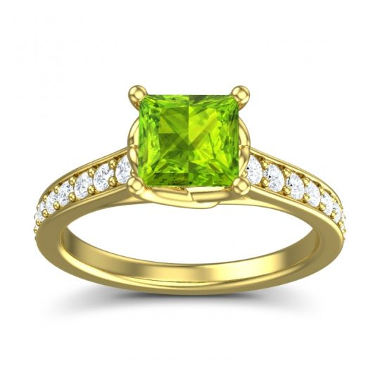 Cathedral Princess Pave Jala Peridot Ring with Diamond in 14k Yellow Gold
