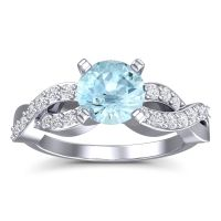 Aquamarine Modern Pave Kamini Ring with Diamond in 18k White Gold