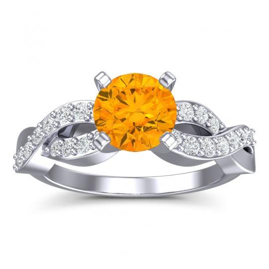 Modern Pave Kamini Citrine Ring with Diamond in 14k White Gold
