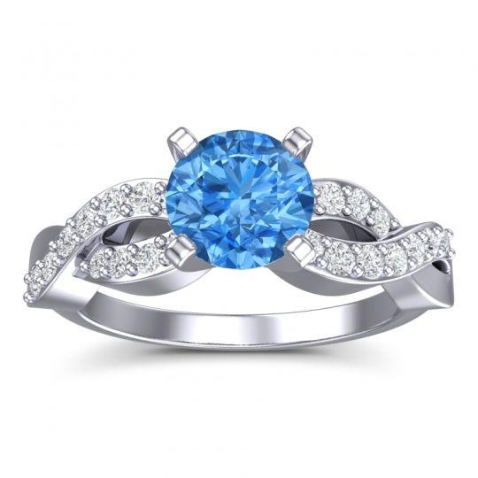 Swiss Blue Topaz Modern Pave Kamini Ring with Diamond in Palladium