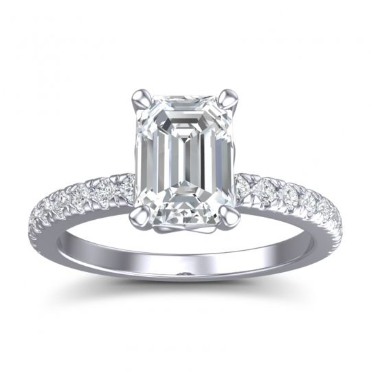 Classic Emerald Cut Samicina Diamond Ring in 14k White Gold
