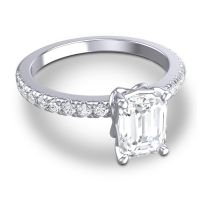 Diamond Classic Emerald Cut Samicina Ring in 14k White Gold