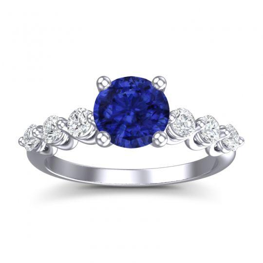 Blue Sapphire Classic Pave Kirita Ring with Diamond in Platinum