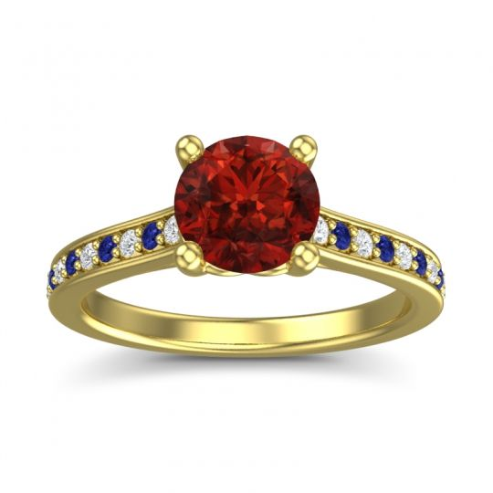 Garnet Cathedral Diamond Pave Vakra Ring with Diamond and Blue Sapphire in 14k Yellow Gold