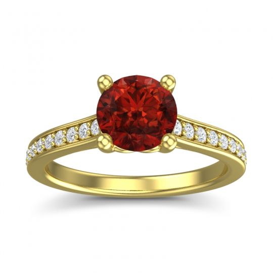 Garnet Cathedral Diamond Pave Vakra Ring with Diamond in 14k Yellow Gold