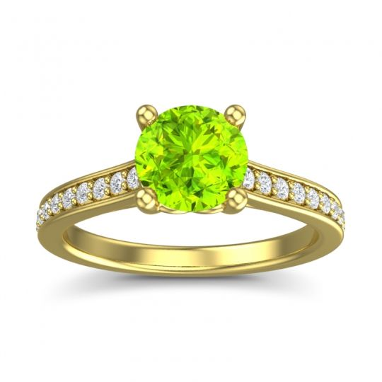Peridot Cathedral Diamond Pave Vakra Ring with Diamond in 14k Yellow Gold