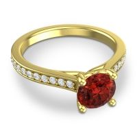 Cathedral Diamond Pave Vakra Garnet Ring with Diamond in 14k Yellow Gold