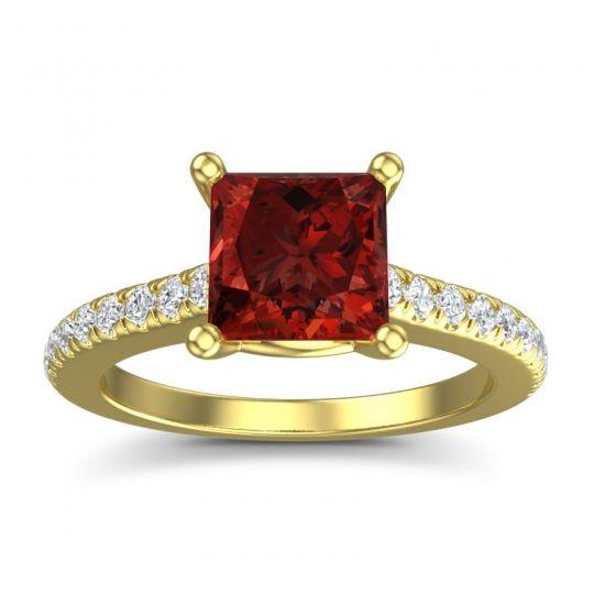 Princess Cut Racana Garnet Ring with Diamond in 14k Yellow Gold