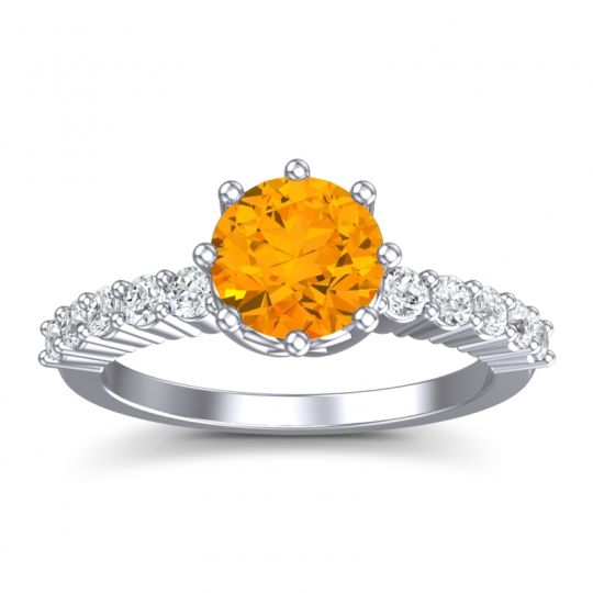 Citrine Classic Pave Musa Ring with Diamond in 14k White Gold