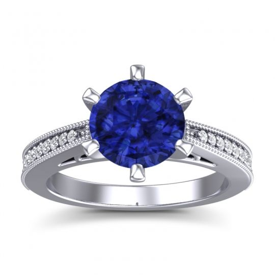 Blue Sapphire Cathedral Pave Nalini Ring with Diamond in 14k White Gold