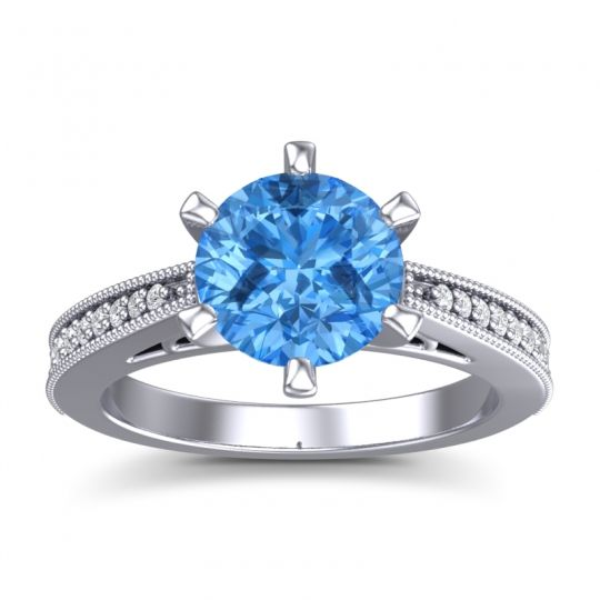 Swiss Blue Topaz Cathedral Pave Nalini Ring with Diamond in 14k White Gold