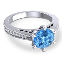 Cathedral Pave Nalini Swiss Blue Topaz Ring with Diamond in 14k White Gold