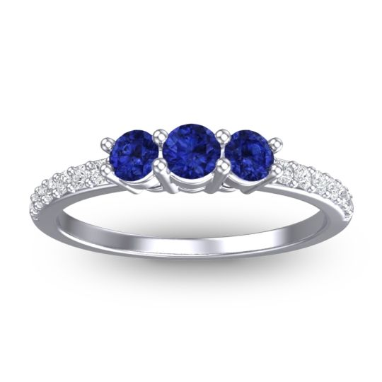 Petite Pave Trizikha Blue Sapphire Ring with Diamond in 14k White Gold