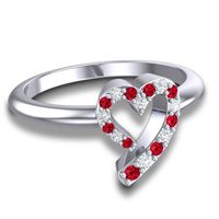 Petite Pave Udana Ruby Ring with Diamond in 14k White Gold
