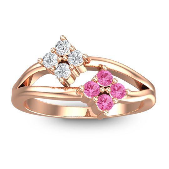 Pink Tourmaline Petite Vanalu Ring with Diamond in 14K Rose Gold