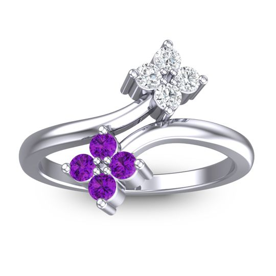 Amethyst Petite Zitavara Ring with Diamond in 14k White Gold