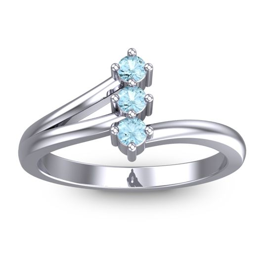 Aquamarine Petite Ali Ring in 14k White Gold