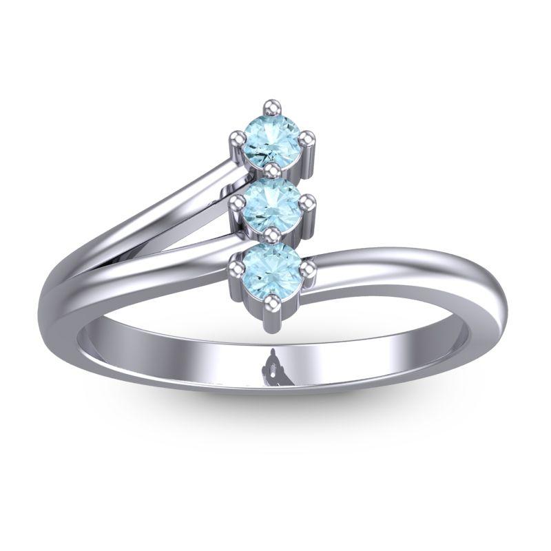 Petite Ali Ring with Aquamarine in 14k White Gold