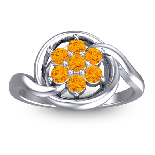 Citrine Simple Floral Pave Cuta Ring in 14k White Gold