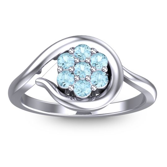 Simple Floral Pave Manica Aquamarine Ring in 14k White Gold