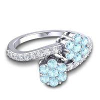 Statement Floral Pave Kusumoda Aquamarine Ring with Diamond in 14k White Gold