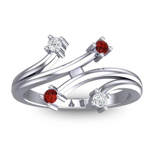 Garnet Petite Vicarati Ring with Diamond in 14k White Gold