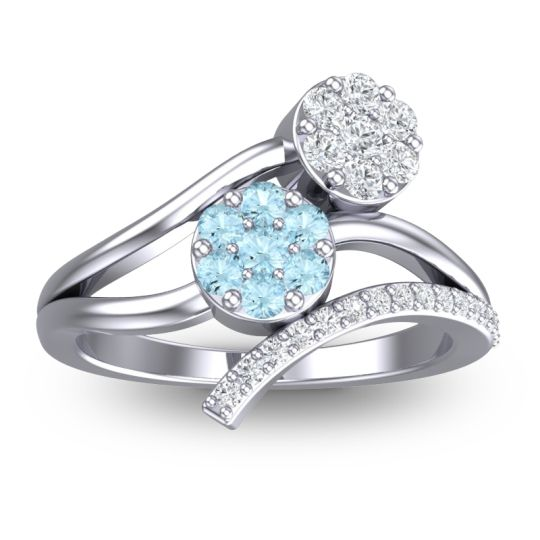 Aquamarine Simple Floral Pave Zubha Ring with Diamond in 14k White Gold