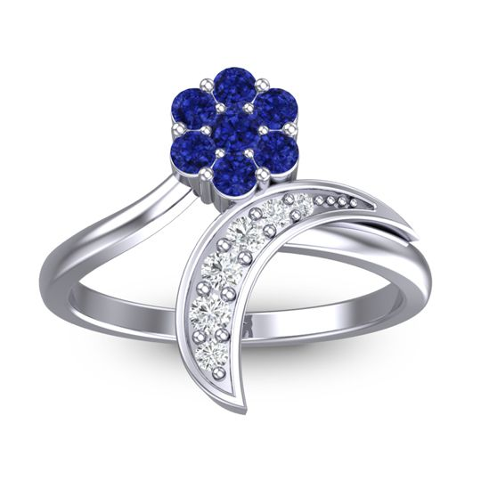 Petite Floral Bana Blue Sapphire Ring with Diamond in 14k White Gold