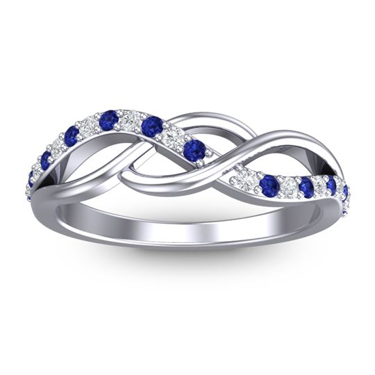 Petite Pave Kallola Blue Sapphire Ring with Diamond in 14k White Gold