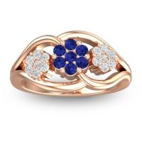 Blue Sapphire Simple Floral Pave Arama Ring with Diamond in 14K Rose Gold