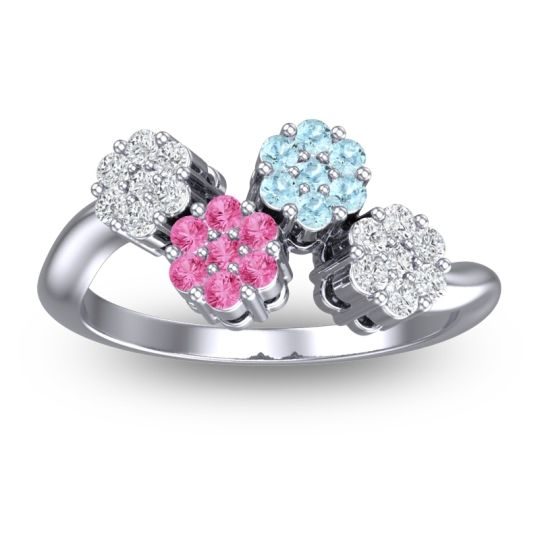 Simple Floral Pave Devana Pink Tourmaline Ring with Aquamarine and Diamond in 14k White Gold