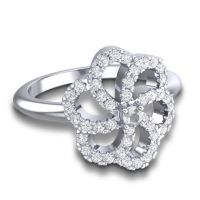 Diamond Statement Floral Pave Carati Ring in 14k White Gold
