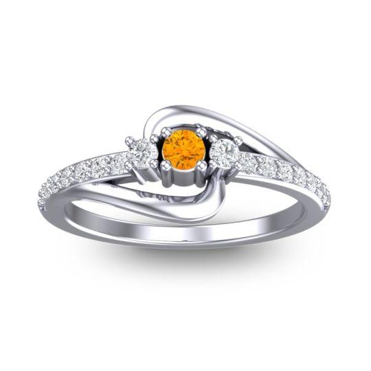 Petite Pave Visana Citrine Ring with Diamond in 14k White Gold