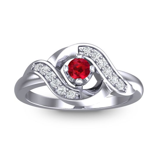 Petite Pave Udarka Ruby Ring with Diamond in 14k White Gold