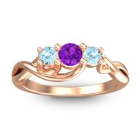 Amethyst Petite Vitana Ring with Aquamarine in 14K Rose Gold