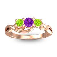 Amethyst Petite Vitana Ring with Peridot in 18K Rose Gold