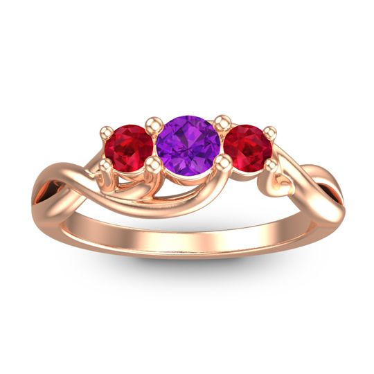 Amethyst Petite Vitana Ring with Ruby in 14K Rose Gold