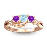 Aquamarine Petite Vitana Ring with Amethyst in 14K Rose Gold