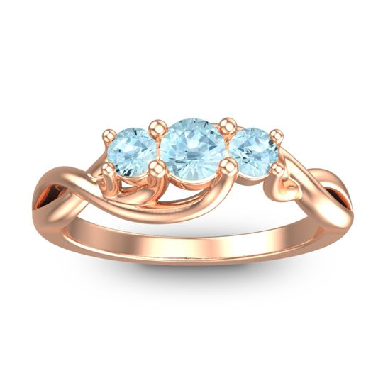 Petite Vitana Aquamarine Ring in 18K Rose Gold