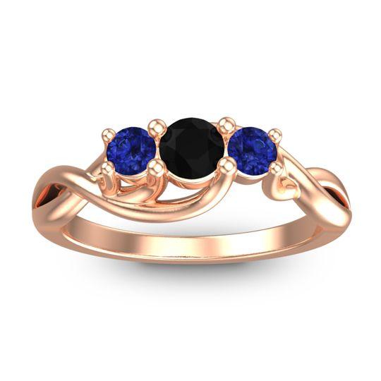 Black Onyx Petite Vitana Ring with Blue Sapphire in 18K Rose Gold
