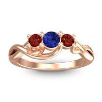 Blue Sapphire Petite Vitana Ring with Garnet in 18K Rose Gold